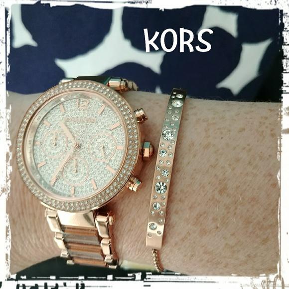ce6b3ebabb51 Michael kors Mk6285 Parker crystal rose gold watch